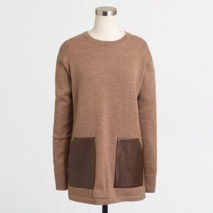 J.Crew Merino wool Faux leather trim sweater